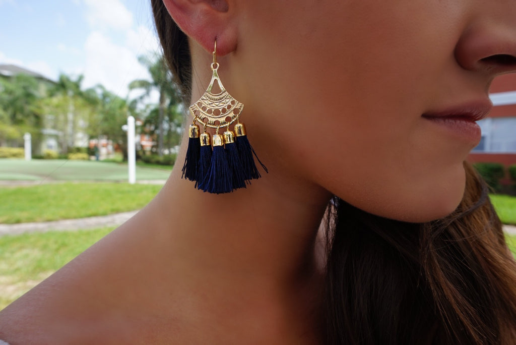 Gold Tassel Earrings- Navy