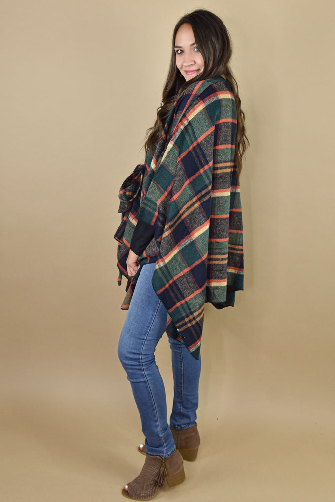 Fall Weather Plaid Poncho- Navy