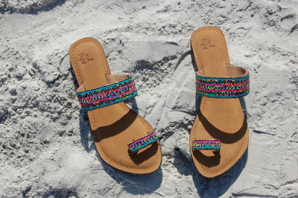 Multicolor Beaded Sandals with Toe Strap