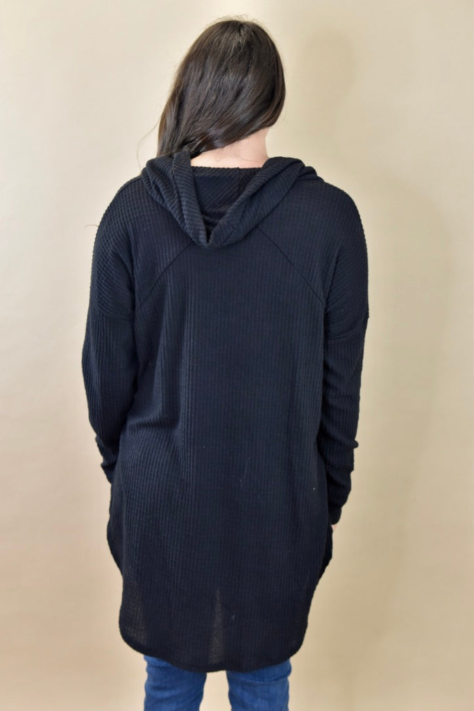 Cowl Neck Waffle Top- Black