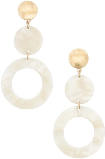 Acrylic White & Gold Drop Earrings