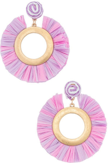 Pink & Purple Gold Fan Hoops
