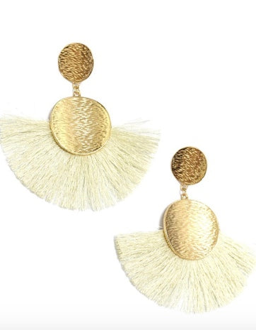 Large Gold & Ivory Dangle Earrings