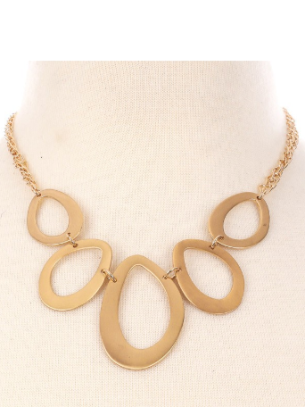 Teardrop Gold Statement Necklace