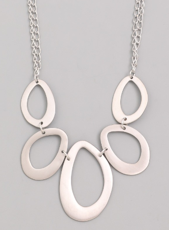 Teardrop Silver Statement Necklace