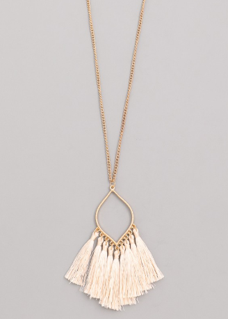Long Ivory & Gold Tassel Necklace