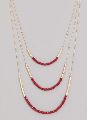 Garnet Red & Gold Triple Layer Necklace