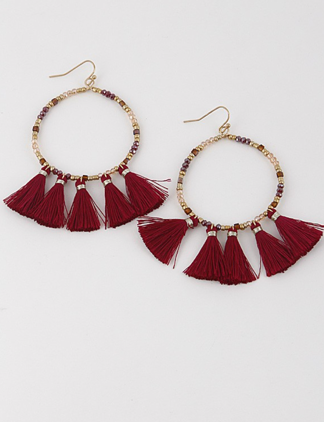 Beaded Hoop Earring with Tassel- Wine