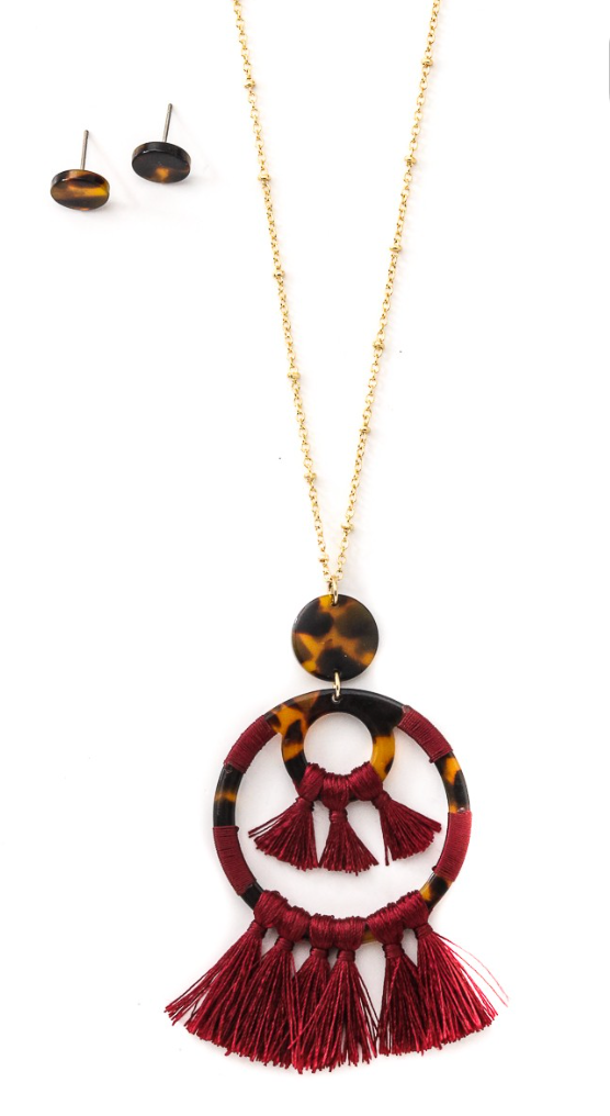 Burgundy & Brown Long Pendant Necklace
