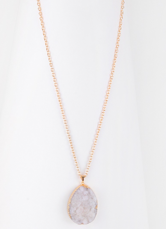 Long Druzy White and Gold Necklace