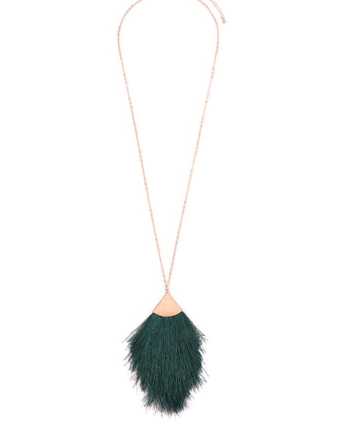 Emerald Fan Fringe Dainty Pendant Necklace