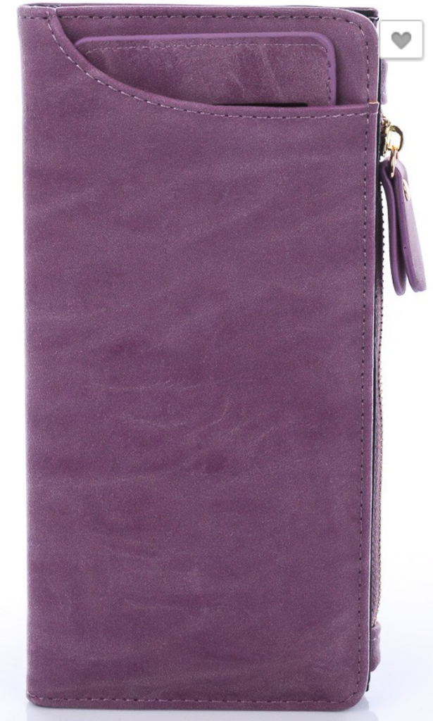 Purple Faux Leather Suede Wallet
