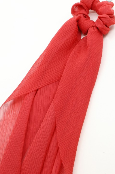 Scrunchy (Detachable Scarf)-Red