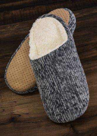 Chenille Slippers- Grey