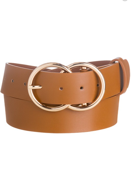Thick Double O Belt- Cognac