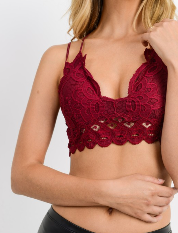 The Lace Bralette- Burgundy