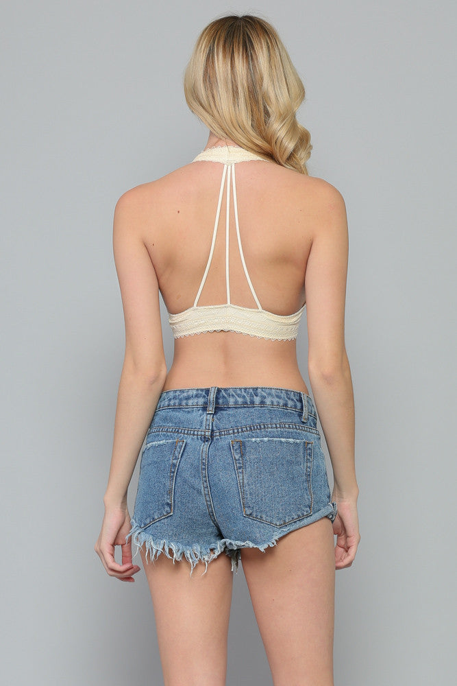 Cream 3-String Lace Padded Bralette