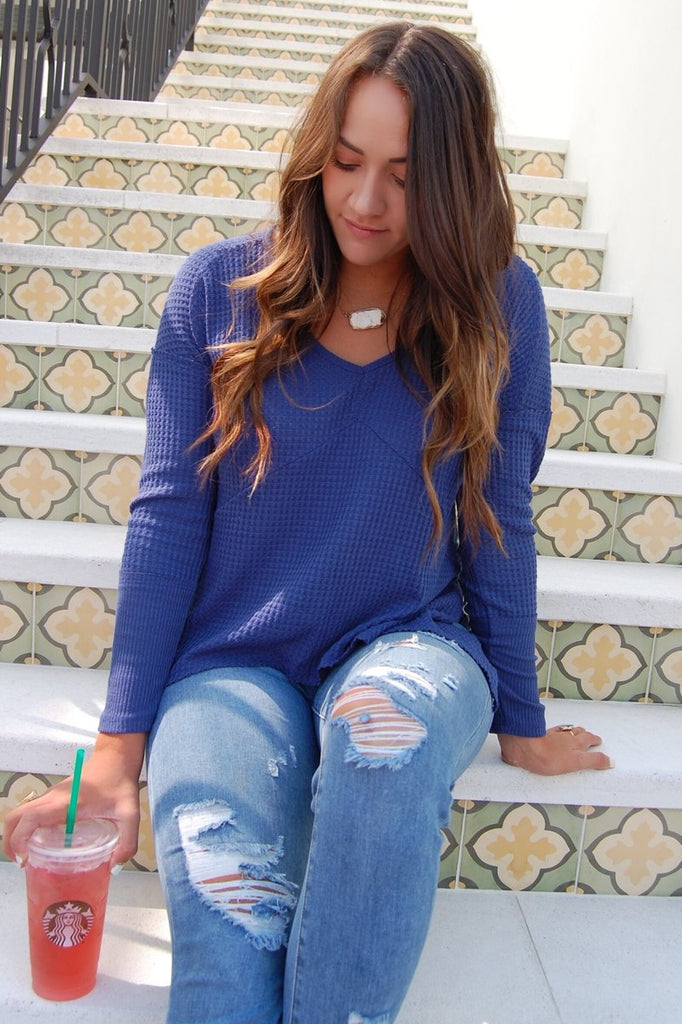 Denim-Color Waffle Top