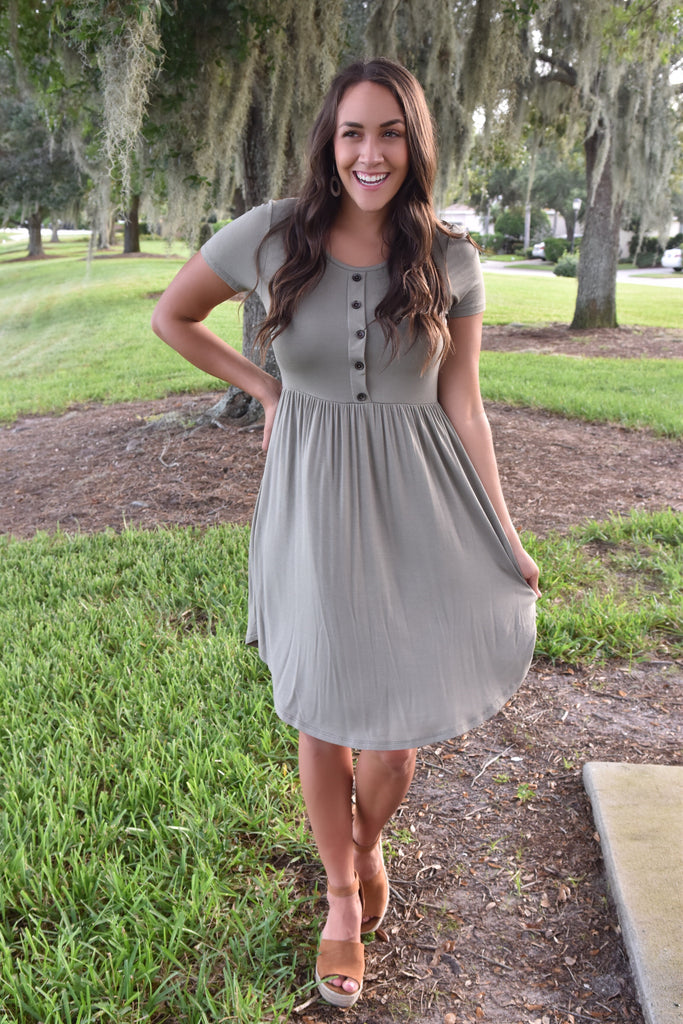 You Are My Destiny Short Sleeve Dress-Olive