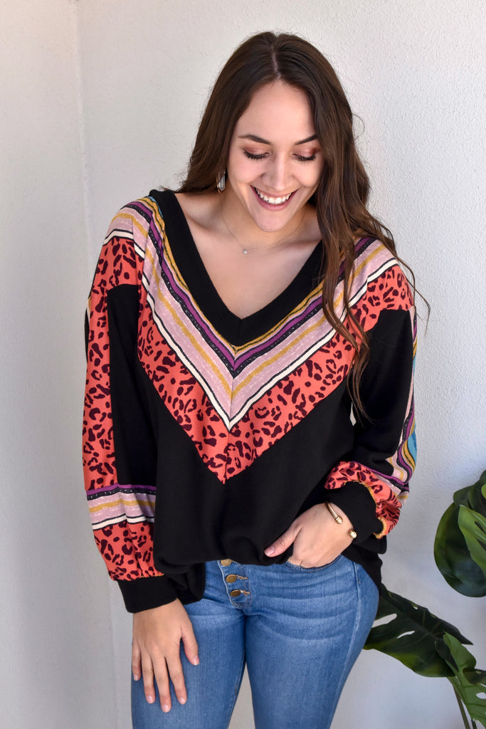 Bold Patches V-Neck  Black Top