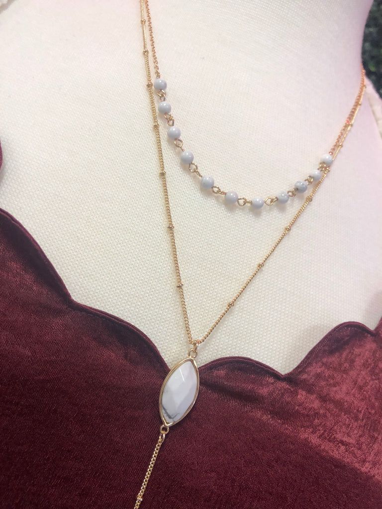 White Marble Two-Layer Necklace