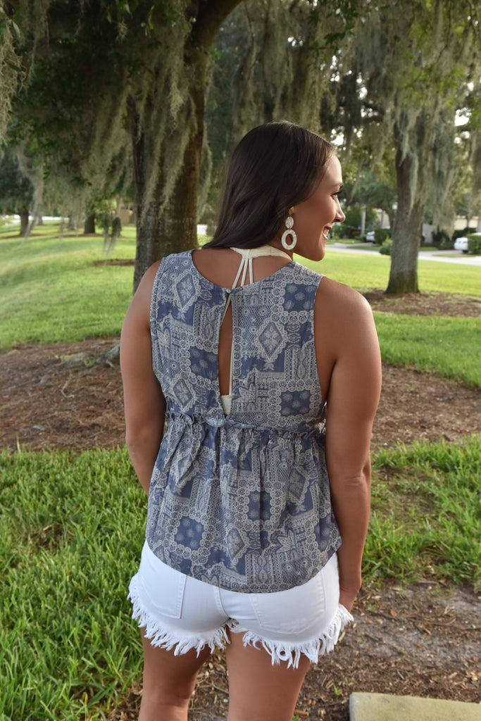 Days Like This V-Neck Tank- Blue/Cream
