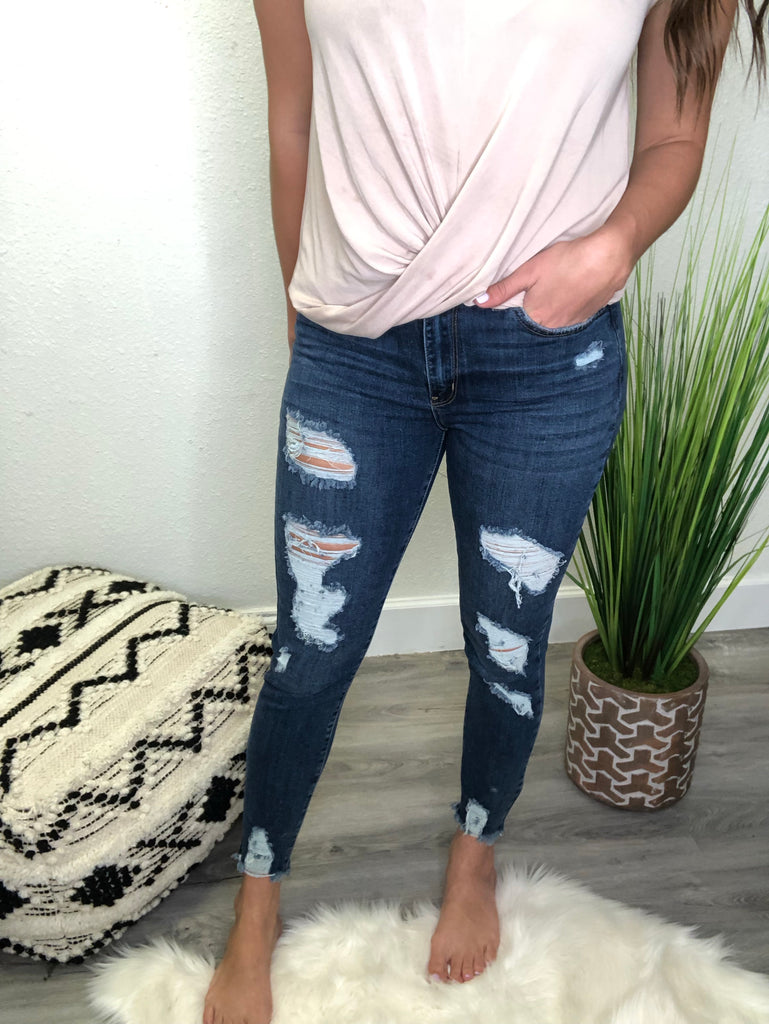 Dark Wash Destroyed Skinny Jean