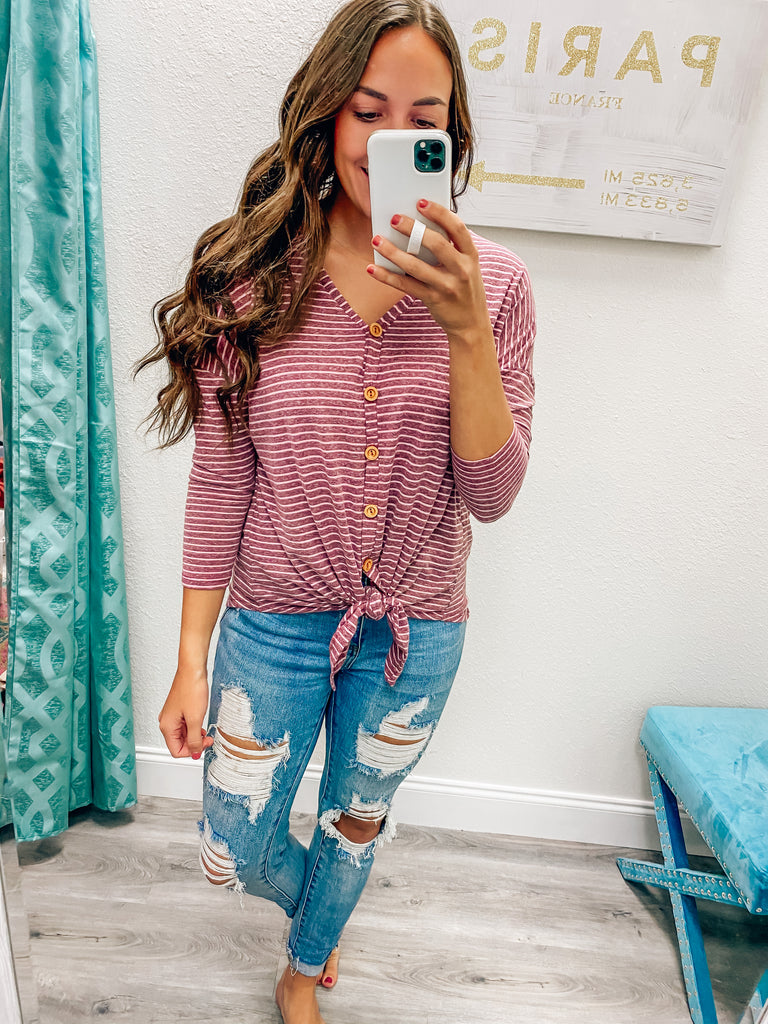 Change of Seasons Striped Top- Berry
