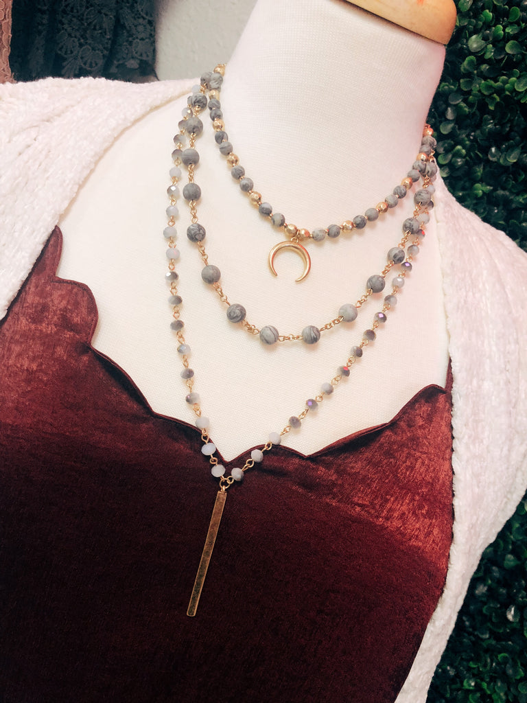Triple Layer Grey Moon Necklace
