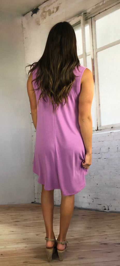 Love So Soft Tank Dress with Pockets- Pink Lavender