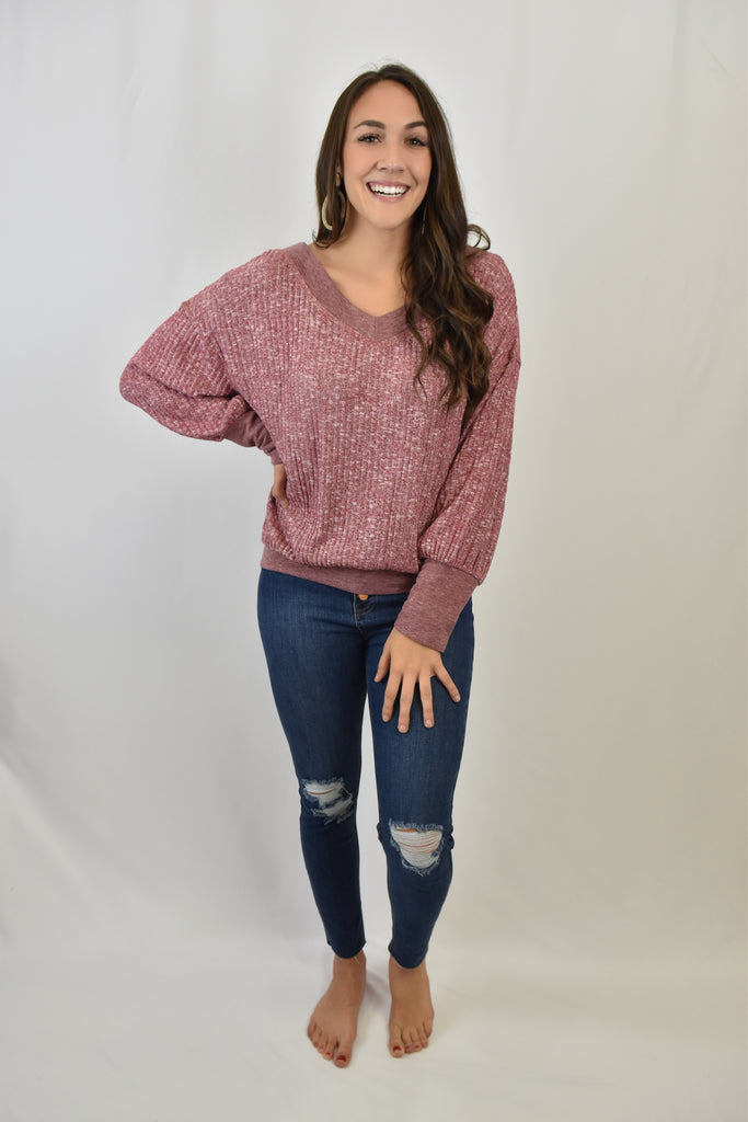 You're My Babe V-Neck Pullover- Warm Pink