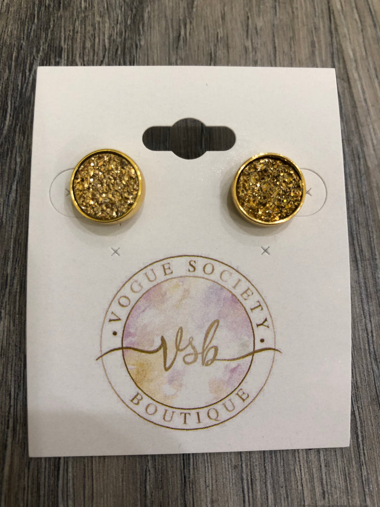 Gold & Stunning Stone Earrings- Gold