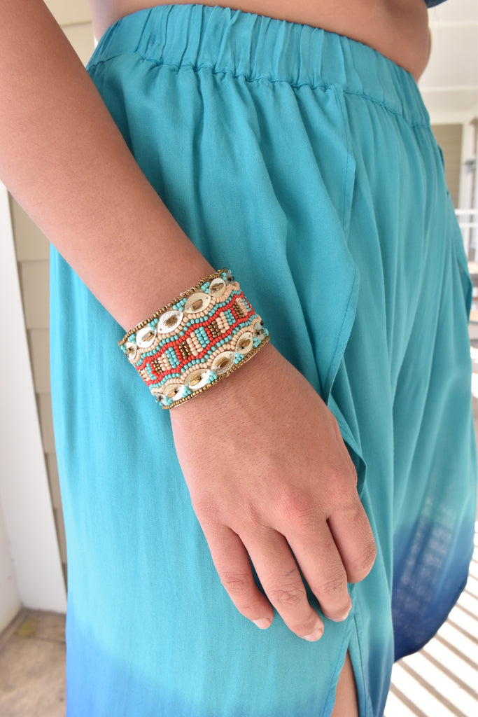 Marnie Beaded Cuff- Turquoise & Coral