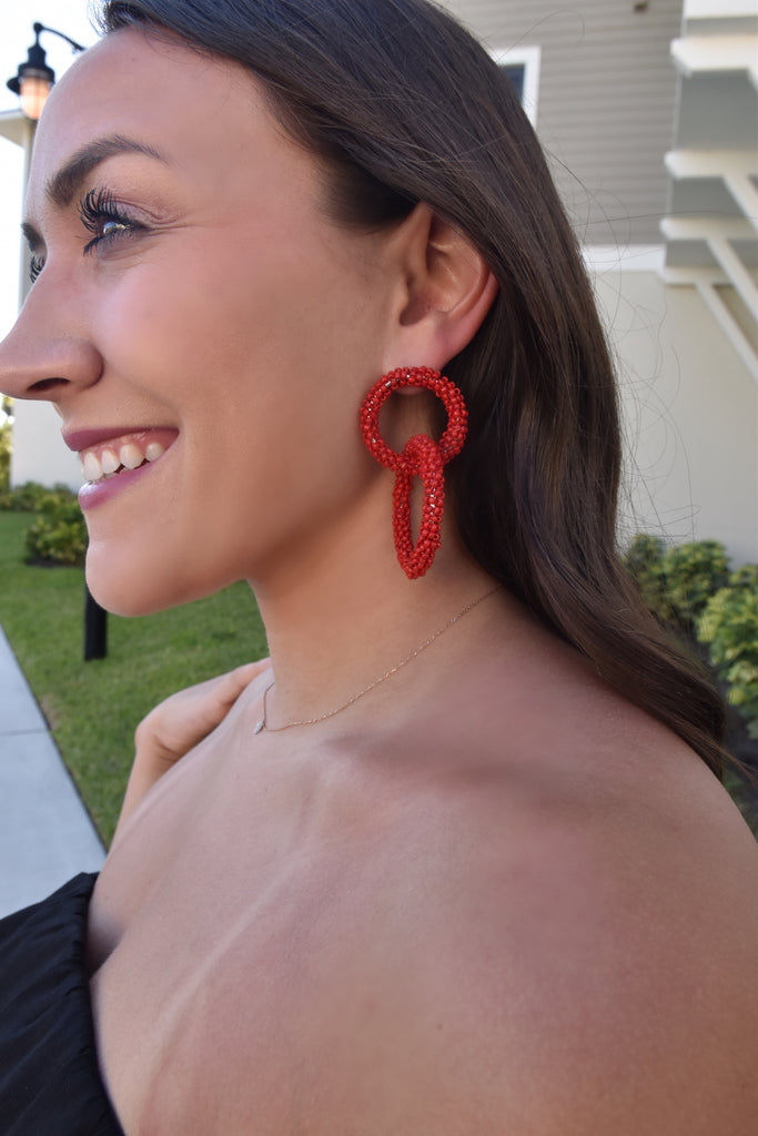 Red Double Hoop Statement Earring
