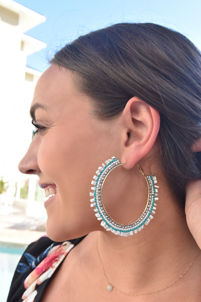 Large Beaded Hoops- White & Turquoise