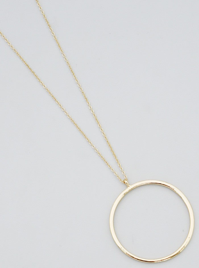 Simply Classic Long Ring Necklace- Gold