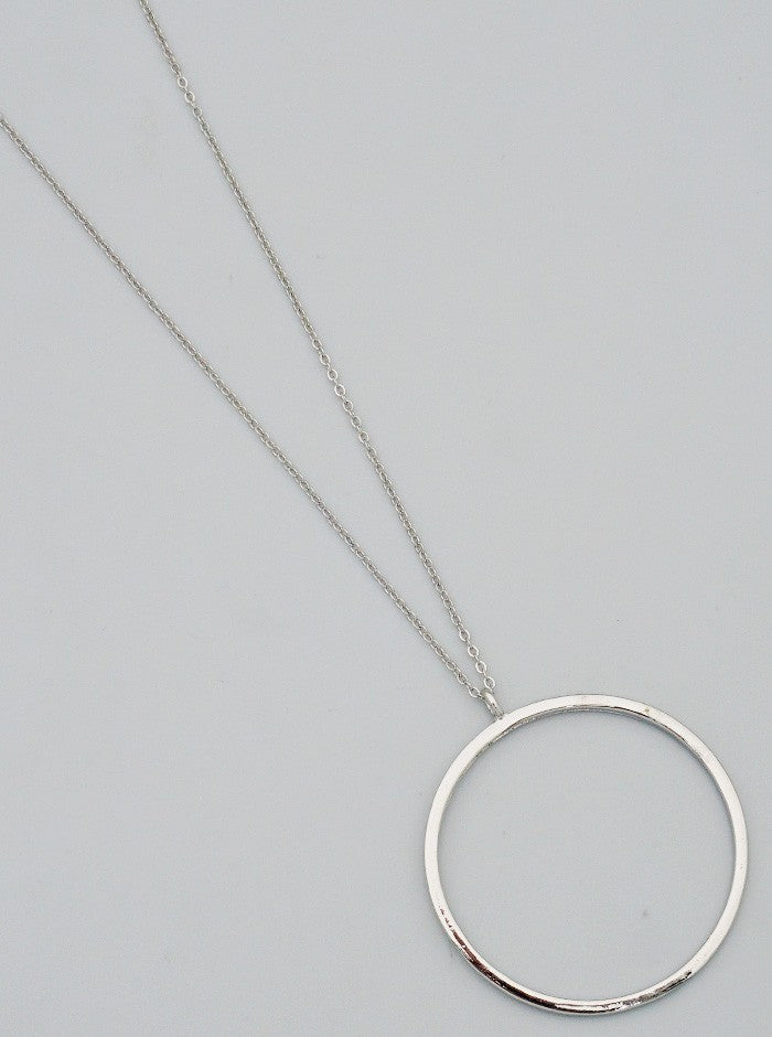 Simply Classic Long Ring Necklace- Silver