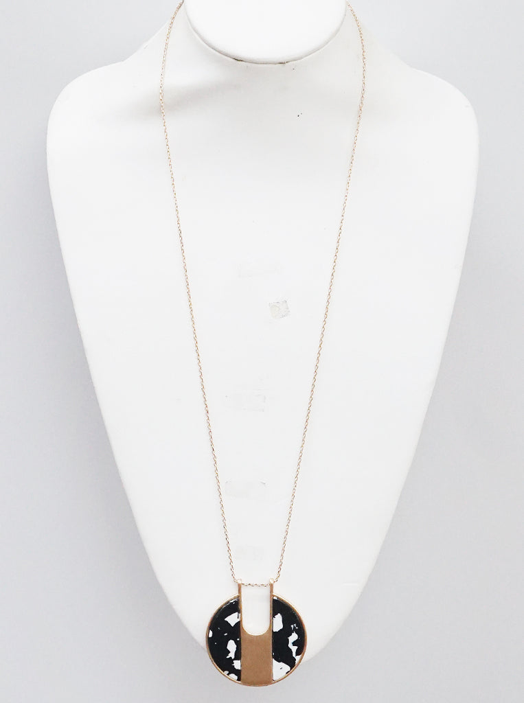 Black/White Stone Classic Midi Necklace