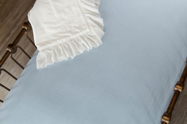 Blue Linen Crib Sheet