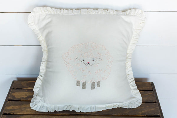 Pink Lamb Embroidered Pillow
