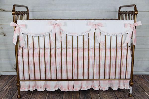 Camille Scalloped Topper Pink Check