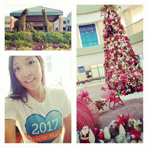 A collage picture of Valley Children's Hospital, a decorated Christmas tree and DYB's Founder with a 2017 Miracle Worker shirt on.