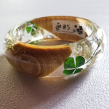 Resin Bangle Bracelet With Flowers