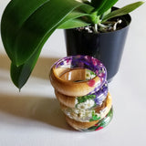 Flower Resin Bracelet, Style #1: Pink and Purple Petals with a Wood Accent