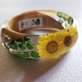Flower Resin Bracelet, Style #3: Yellow Daisies and a Wood Accent