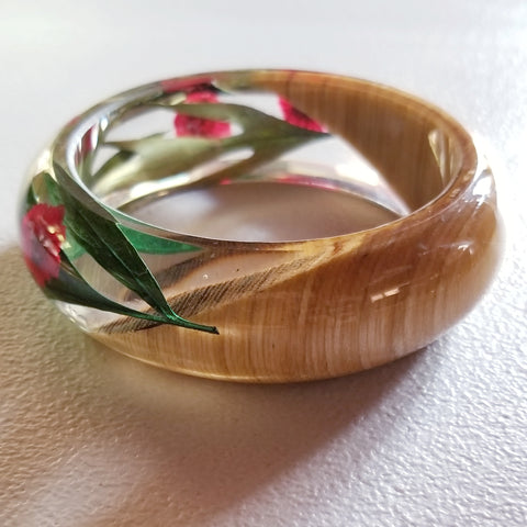 Flower Resin Bracelet, Style #2: Red Flowers and Wood Accent