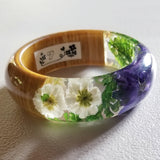 Flower Resin Bracelet, Style #7: Blue-ish Purple and White Flowers with a Wood Accent