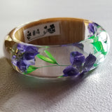 Flower Resin Bracelet, Style #4: Purple Flowers, Green Leaves and Wood Accent