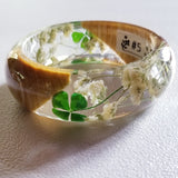Flower Resin Bracelet, Style #5: Four-Leaf Clower and a Wood Accent