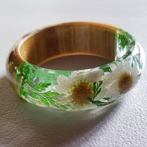 Flower Resin Bracelet, Style #8: White Daisies with a Wood Accent